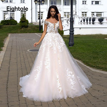 цена на Eightale Champagne Wedding dress Boho Floral Lace A-line Wedding Gowns Open Back Bridal Dress Off Shoulder vestido de noiva