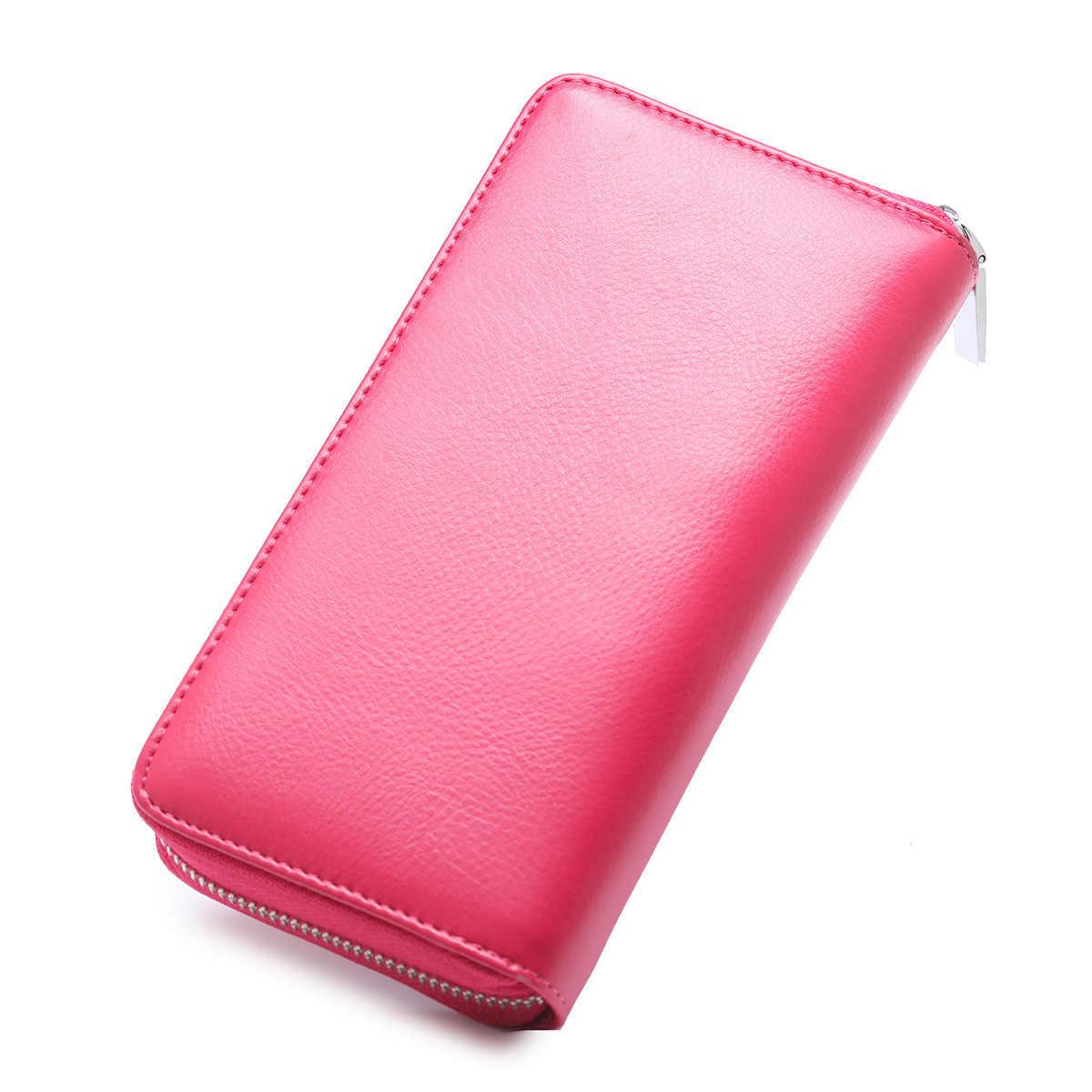 Wanita Dompet RFID Pemegang Kartu Kredit Asli Kulit Panjang Kartu Pemegang Wanita Anti Pencurian Perjalanan Dompet Paspor Saku
