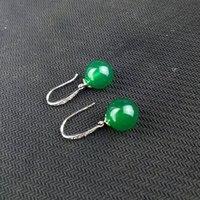 KYSZDL Hermosa Calcedonia Calcedonia Verde Natural Con Incrustaciones de Plata 925 Mujeres de La Manera Gota Para El Oído Joyería Caja de Regalo Libre