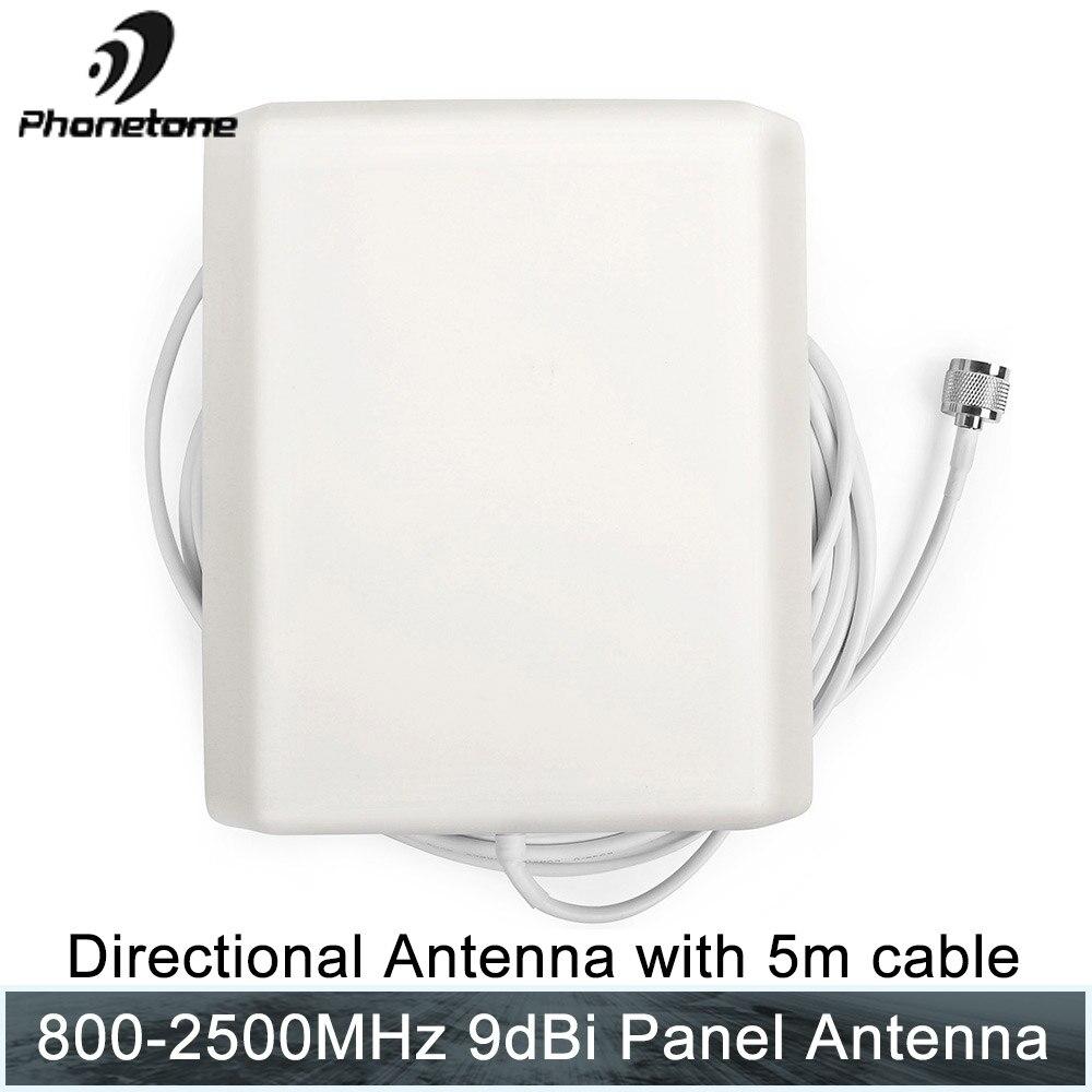 800-2500 MHz 9dBi 2G 3G 4G Lte antenne panneau directionnel intérieur antenne N connecteur mâle et câble 5 m pour répéteur Signal Booster