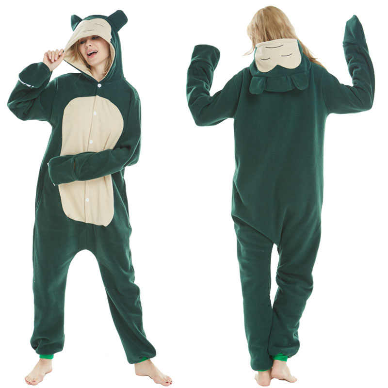 Neue Kostüme Pokemon Snorlax Cosplay Kostüm Fleece Winter Pyjamas Onesies Pyjamas Karneval Halloween Party Kleid für Männer