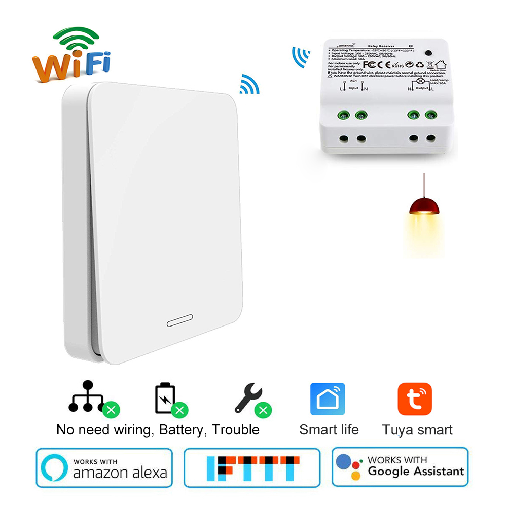 Wifi Smart switch 2500W wifi relay timer switch <font><b>RF433</b></font> kinetic self-powered Voice <font><b>Control</b></font> work with Alexa Google IFTTT Smart Life image