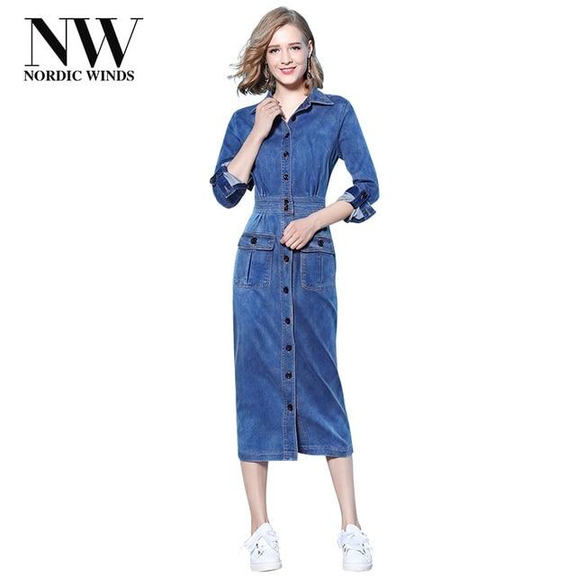 deeb5a65ed5 Северные ветры женские джинсовые платья Для женщин Новинка 2017 года  поступления Демисезонный хлопок миди платье из