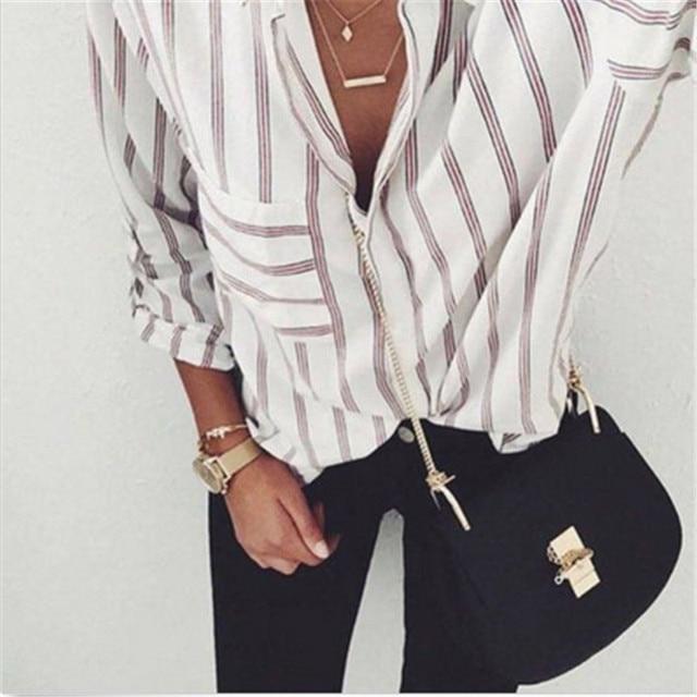 2017 nouveau chemisier rayé femmes Blusas lâche Slim Fit à manches longues femmes chemises haut tendance tout Match pour les Blouses des femmes