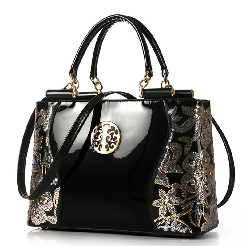 2018 luxury fashion shoulder bag patent leather women handbag Clutch Sequins design patent diamond messenger bag
