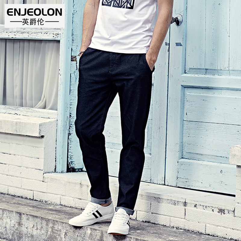Enjeolon brand topquality long full trousers pants Straight jeans males cotton clothing Slim Causal black drawstring Pants K6234