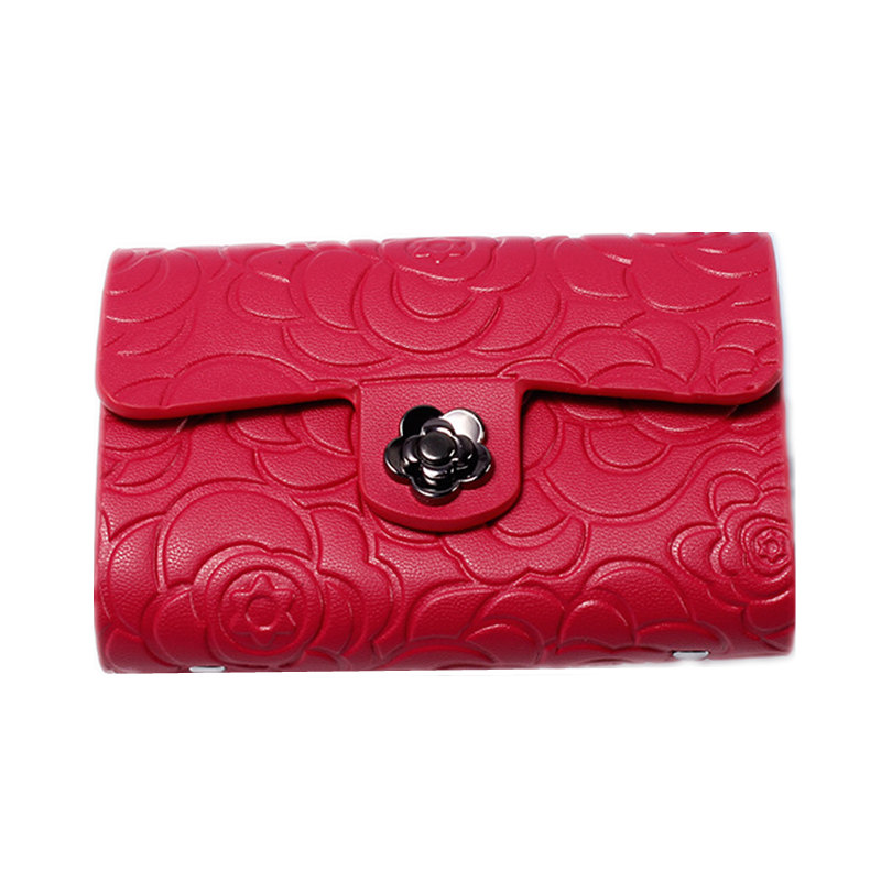 Classic Floral Women Card Id Holders Mini Cowhide Credit Card Holder Fashion Business Card Holder Document Bag