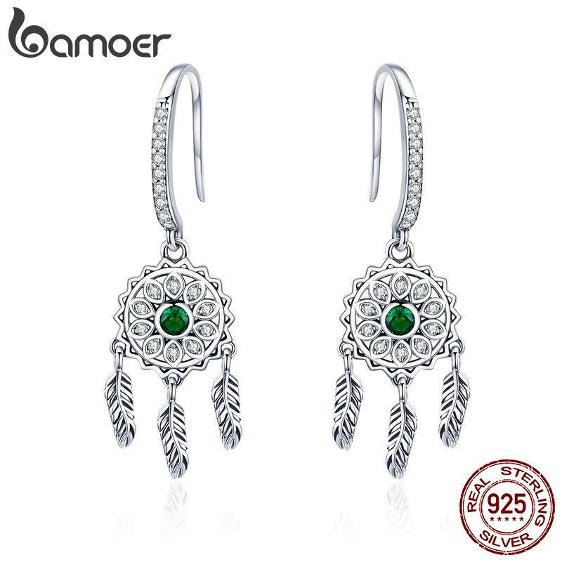 BAMOER Authentic 925 Sterling Silver Vintage Dream Catcher Green CZ Drop Earrings for Women Sterling Silver Jewelry Gift SCE441