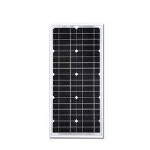 Solar Panel 12v 20w Monocrystalline Painel Solar Zonnepanelen Solar Battery Charger Camping Trip Solar Light LEDs Boat