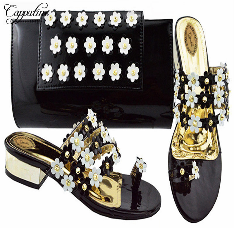 Capputine New Italian PU Woman Shoes And Matching Bag Set Africa Style Pumps Shoes And Bag Set For Party Size 38-43 C006 capputine africa style shoes and bag set fashion woman high heels pumps shoes and bag set for party free shipping bch 27