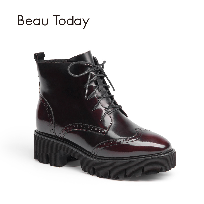 Beau Today Genuine Leather Woman shoes Martin Boots Brogue Style High Quality Cow Leather High heel Ankle boots Ladies 05312 brogue boots two tone