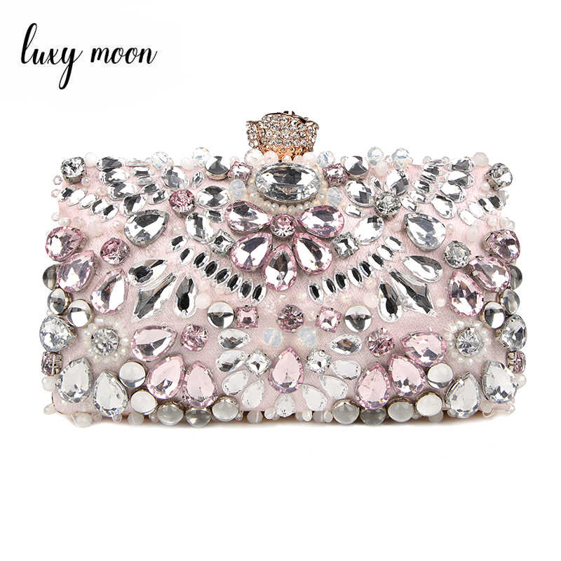 Luxy Moon Rhinestone Evening Bags diamond clutches Pearls Beaded Day Clutch Purses and Handbags Wallet Evening Wedding Bag ZD848