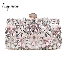 Luxy Moon Rhinestone Evening Bags diamond clutches Pearls Beaded Day Clutch Purses and Handbags Wallet Evening Wedding Bag ZD848 цена и фото