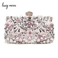 Luxy Moon Rhinestone Evening Bags diamond clutches Pearls Beaded Day Clutch Purse Handbags Wallet Evening Wedding Bag ZD848