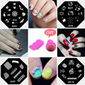 Nail Art Stamping Plates Template Stencils For Nails Manicure Stainless Steel Beauty DIY Nail Stamps Tools 10 Styles