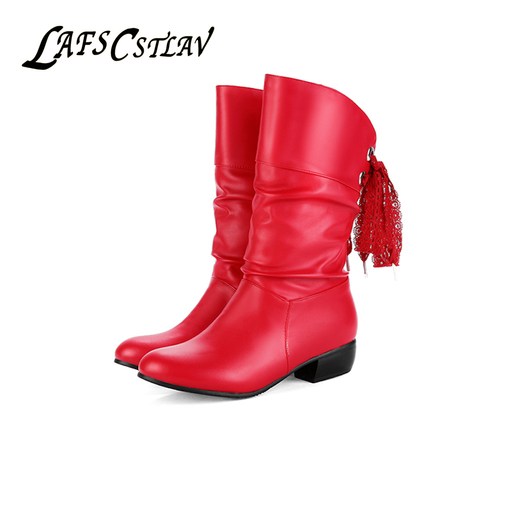 LAFS CSTLAV Moda Botas de invierno para mujer Tacones bajos planos - Zapatos de mujer
