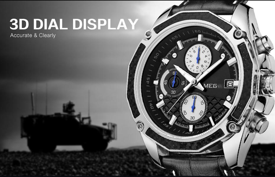 Topdudes.com - MEGIR Original Top Brand Military Multifunctional Chronograph Leather Sport Watch