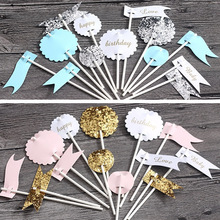 new glitter flag happy love cake topper for birthday cupcake flag baby shower party wedding decoration supplies
