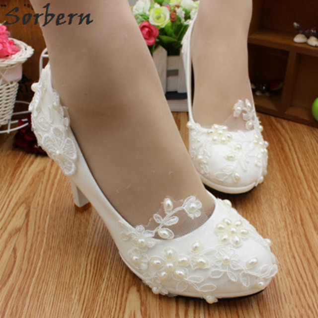 Sorbern White Lace Bridal Shoes 8cm High Heels Beaded Liques Wedding Womens Large Sizes