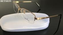 真新しい男男性純チタン眼鏡フレームハーフリム光眼鏡 rx できる