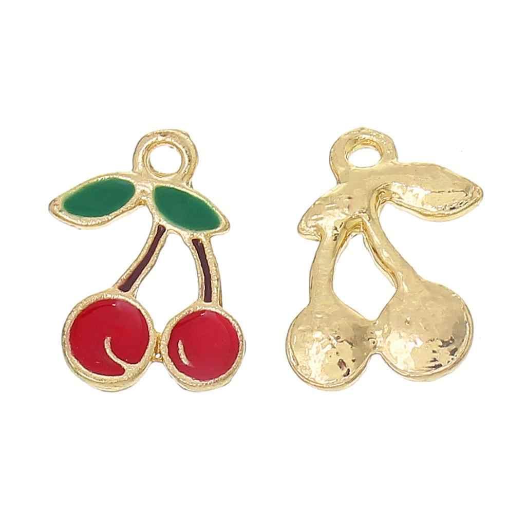 """โลหะผสมสังกะสี Charm จี้ Cherry GOLD สีสีแดงและสีเขียวใบรูปแบบเคลือบ 18 มม.(6/8 """") x 16 มม.(5/8 """"),2 PCS"""