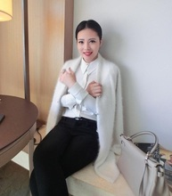 New plush mink mink wool cashmere sweater in the long silver buckle temperament cardigan Can wholesale