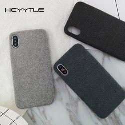 Heyytle أفخم الأقمشة جراب هاتف لابل آيفون X 8 7 6S 6 Plus دافئ أفخم موضة كابا لينة اللون الغطاء الخلفي الحالات