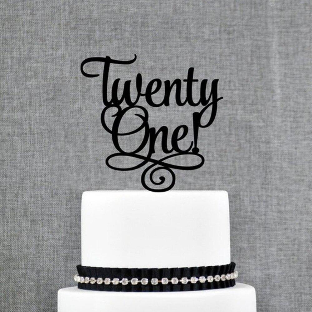 Twenty One Happy Birthday Cake Topper,Color Acrylic Cake Topper , 21st Anniversary  Wedding Cake Topper Decorations SuppliesTwenty One Happy Birthday Cake Topper,Color Acrylic Cake Topper , 21st Anniversary  Wedding Cake Topper Decorations Supplies