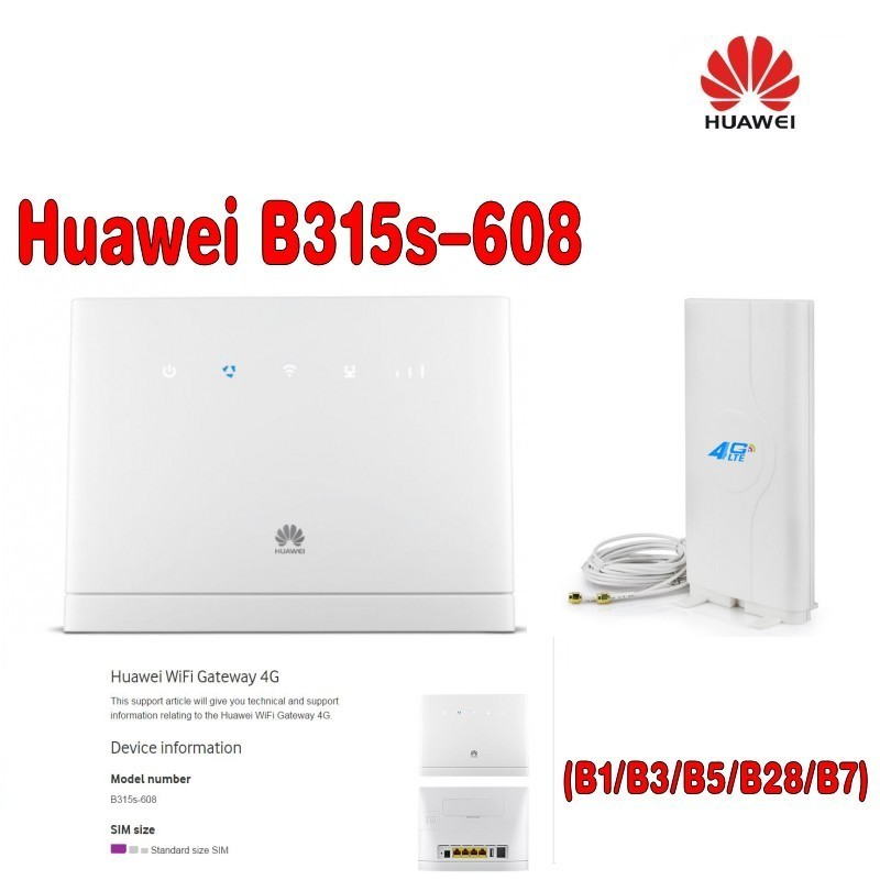 Huawei B315s 608 LTE FDD700/850/1800/2100/2600(B1/3/5/7/28)Mhz Mobile Wireless VOIP CPE Router plus 4g antenna