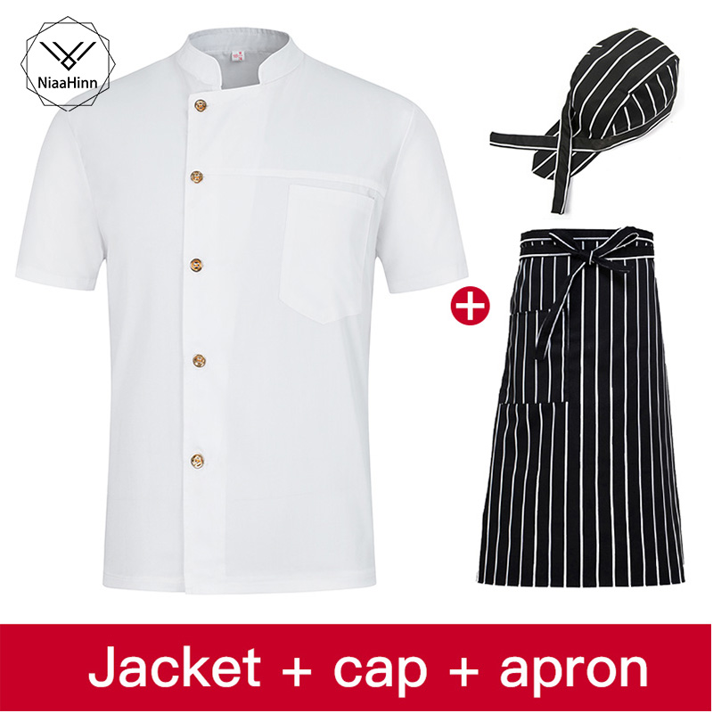 Unisex Single-breasted Collar White Chef Uniform Bread Coffee Shop Restaurant Uniforms Shirts Wholesale Overalls Chef Hat Apron