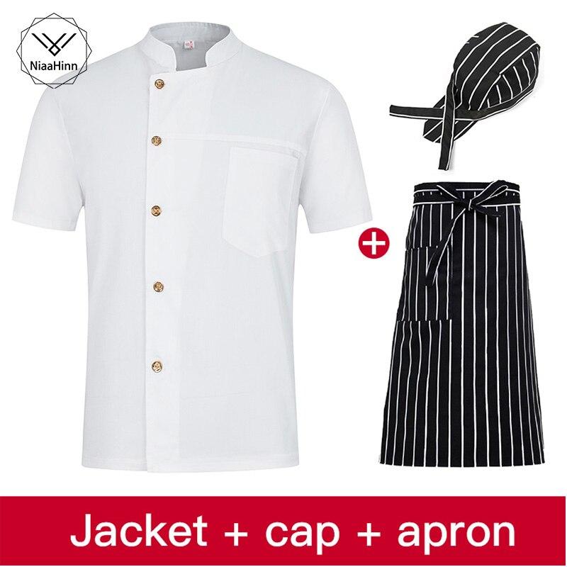Unisex Single-breasted Collar White Chef Uniform Bread Coffee Shop Restaurant Uniforms Shirts Wholesale Overalls Chef Hat Apron