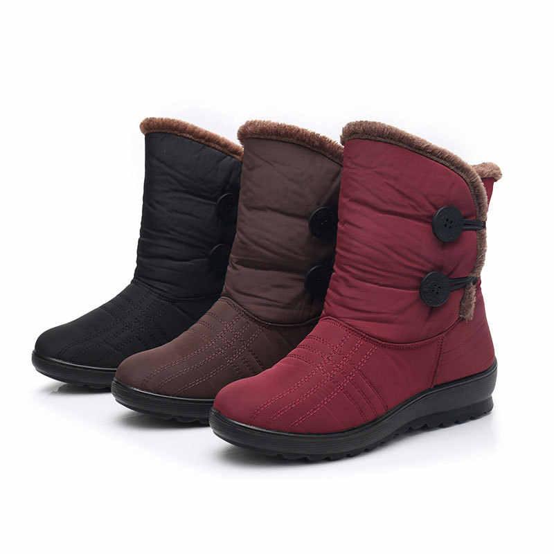 Botas de nieve antideslizantes 2018 nuevas botas de invierno para mujer botas impermeables para la madre zapatos de invierno para mujer más terciopelo botas de algodón