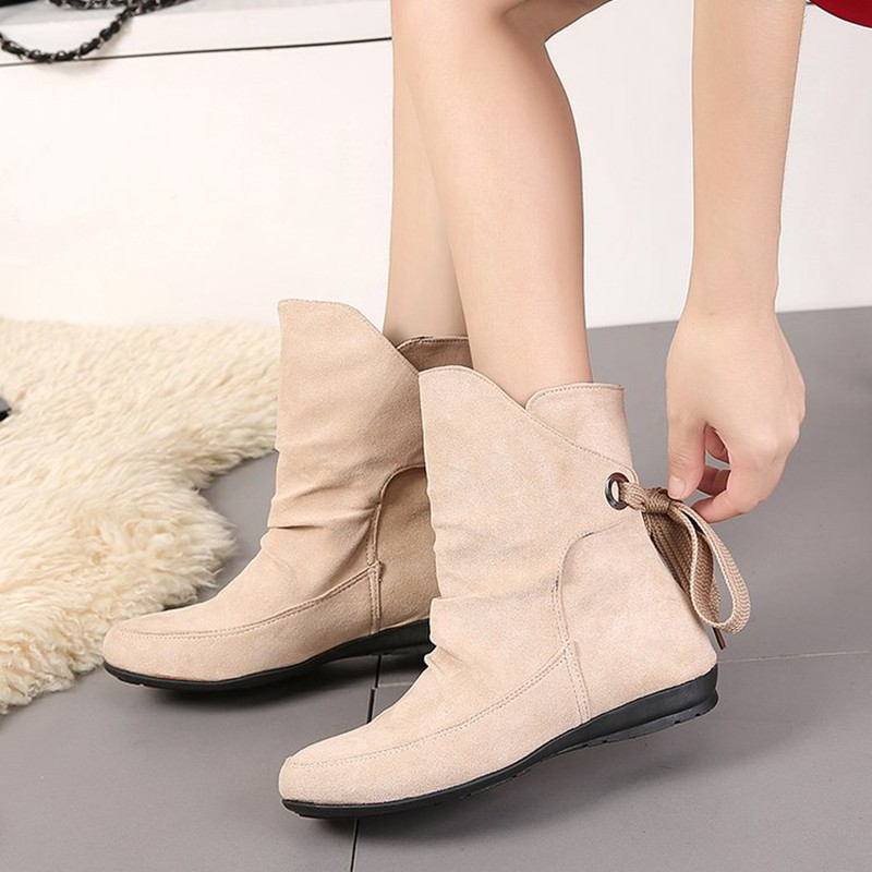 COOTELILI Plus Size Ankle Boots For Women Shoes Lace-Up Ladies Shoes Fashion Rubber Boots Women Winter Shoes Red Black 41 42 43  (6)