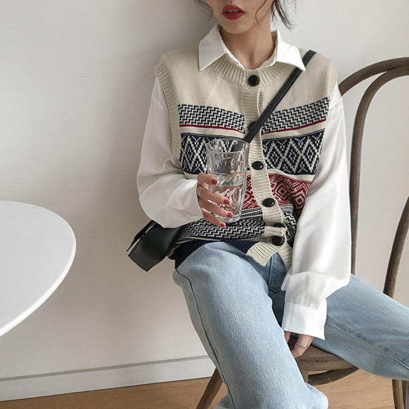 2018 Autumn Vintage Style Color Patchwork Single Breasted Buttons Vest Womens Knitted Sweaters Womens  (F1308)