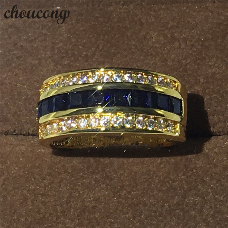 New Fashion Jewelry Male ring stone 5A Zircon Cz Yellow gold filled Party Wedding Band Ring for Men Women Top quality