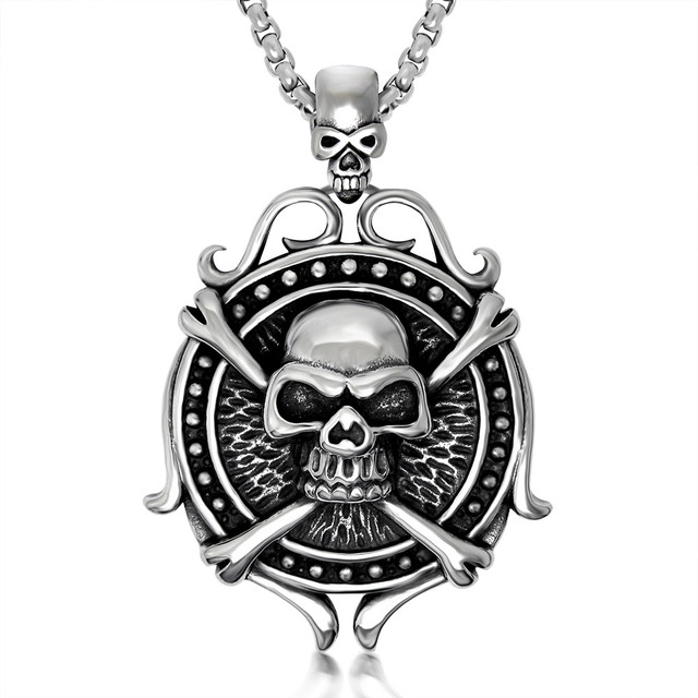 Retro punk hip hop silver tone stainless steel skull crossbones retro punk hip hop silver tone stainless steel skull crossbones pendant necklace 60cm ss chain 02 aloadofball Gallery