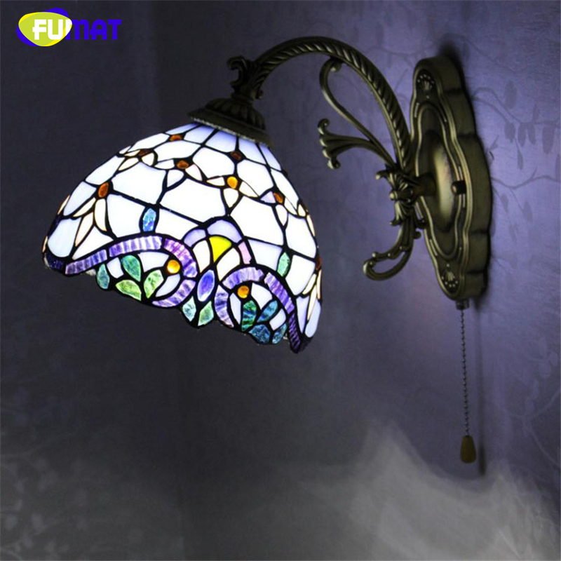 FUMAT Stained Glass Wall Lamp European Style Baroque Purple Light For Living Room Wall Mirror Corridor Bedside LED Wall Lights tiffany baroque sunflower stained glass iron mermaid wall lamp indoor bedside lamps wall lights for home ac 110v 220v e27