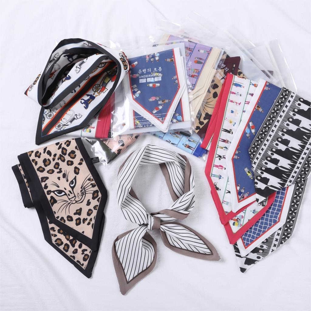 Fashion Double-sided Silk Scarf Long Strips Scarf Satin Double-layer Wild Professional Small Scarf, Women Spring Summer Scarf