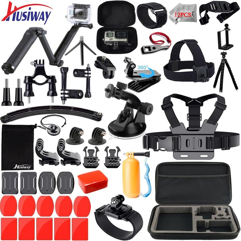 Husiway per Gopro accessori set per go pro hero 5 4 3 2 kit di montaggio per SJ5000 Eken/SOOCOO/xiaomi yi 4 k treppiedi di macchina fotografica 13 M