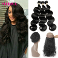 Pre Plucked 360 Lace Frontal Closure With Bundle Natural Hairline Brazilian Body Wave Virgin Hair Frontal 13x4 with Baby Hair