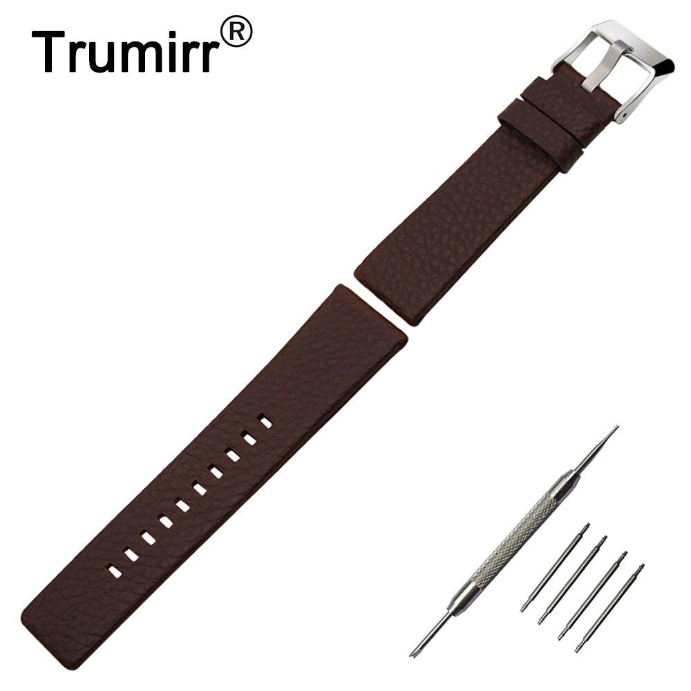 20mm 24mm 26mm 27mm 28mm Genuine Leather Watchband for Diesel DZ7313/22/7257 Watch Band Wrist Strap Steel Buckle Bracelet Brown