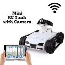iPhone / iOS WiFi RC i-Spy Tank with Live Video Camera Functions black & white F04110 wifi iphone remote control tank NSWOB 2017 new cloud companian wifi rc spy monitoring car robot tank ip camera mobile app remote control