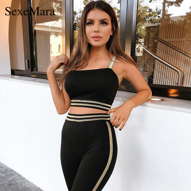ANJAMANOR Gold Striped Black Sexy Tracksuit Women 2 Two Piece Outfits  Matching Sets Crop Top and c8dfd2b6d