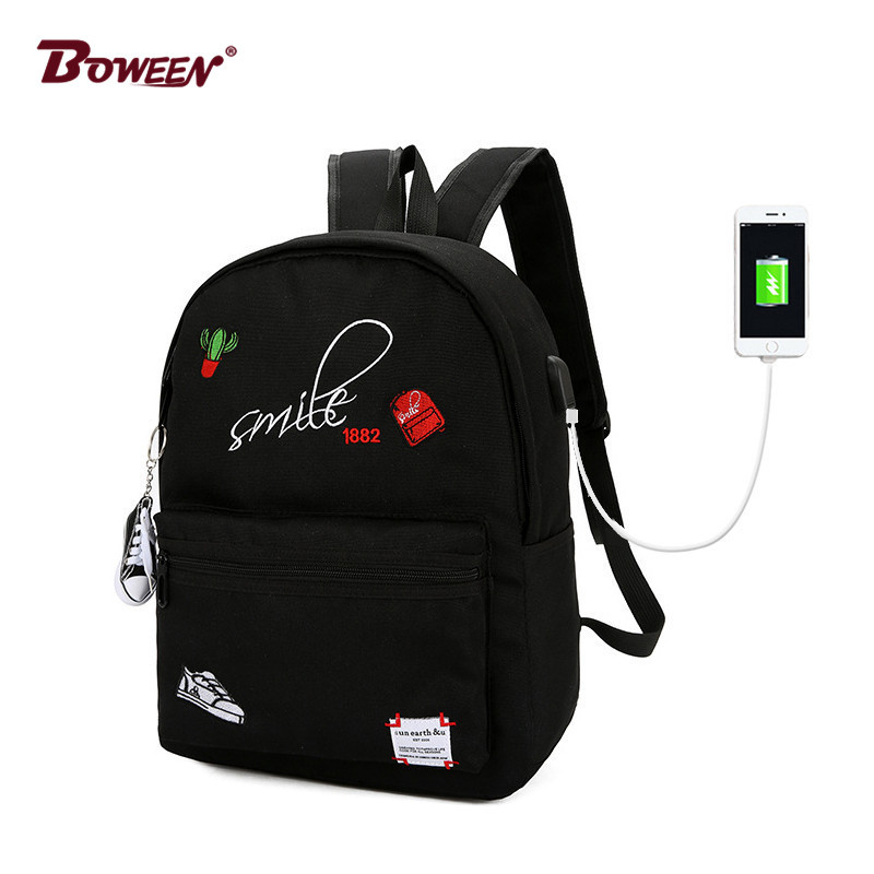 Usb women Backpack School Bags for Girls teenage 2018 Canvas Printing Teens Large Cool Student back pack female bagpack Black