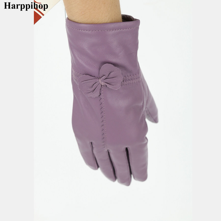 High quality Women's fashion winter gloves For Ladies' More warm Add wool gloves female cape glove Women Genuine leather Gloves