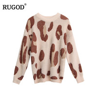 RUGOD Leopard Printed pullover sweaters Fashion Long sleeve knitted jumper sweaters women Round neck sweater pull femme hiver