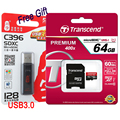 Transcend High Speed 64GB 32GB 16GB MicroSD MicroSDXC Micro SD SDHC SDXC Card 400X class10 UHS-1 TF Memory Card With Card Reader