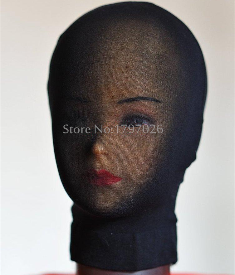 Halloween Costumes Black Super Shiny Transparent Head Hoods Tights Unisex Fetish Zentai Suit