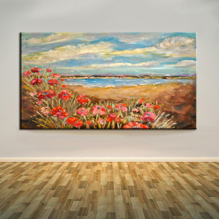 Newest Arrival Handmade Impression Flowers <font><b>Sea</b></font> Landscape Oil Painting On Canvas Hand-painted Abstract Red <font><b>Poppies</b></font> Oil Paintings