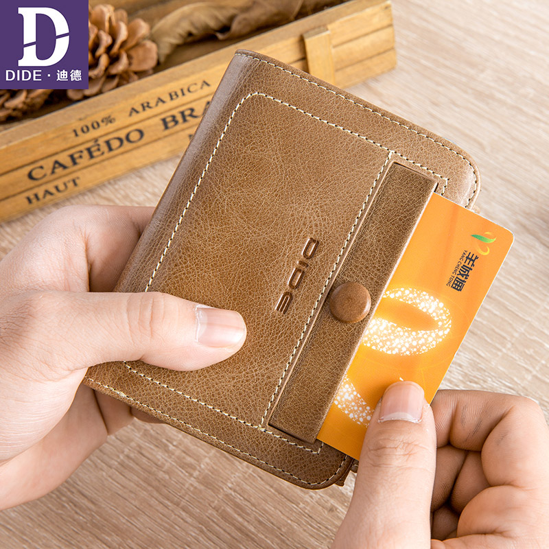 DIDE 100% Genuine Leather Man Vintage Wallets Men short wallet Multifunction zipper Coin bag ID Card Holder Coin Purse